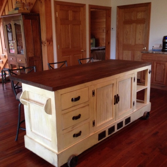 Custom Handmade Industrial Style Distressed Kitchen Island with Eating Bar.