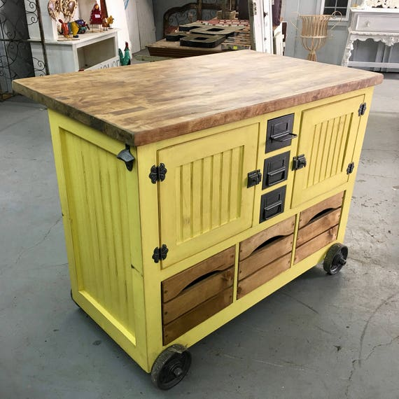 Industrial Style Kitchen Island: Industrial Style Small Kitchen Island With Tons Of Storage