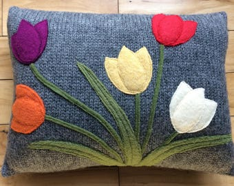 Recycled felted wool sweater decorative pillow, tulip pillow, spring cushion