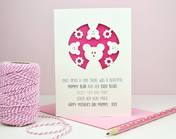personalised mother's day card - mother's day - baby bears - bears - mummy bear