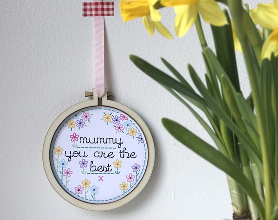 Personalised Mother's Day embroidery print - mother's day keepsake - gift for mummy -
