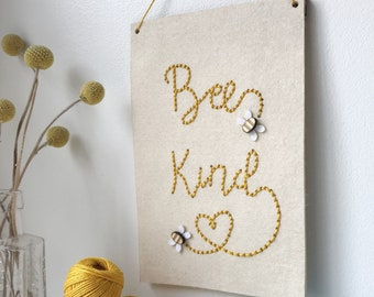 Bee Kind Simple Embroidery Kit - Stitch Kit - Love Bees - Be Kind