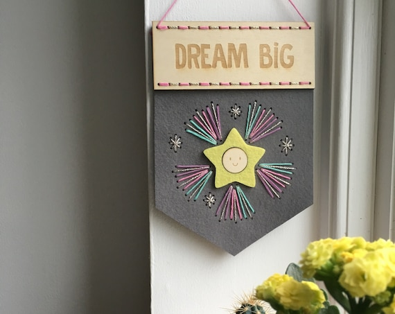 Dream Big stitch kit - Make your own banner - craft kits - embroidery