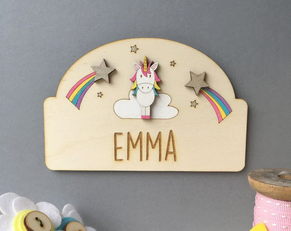 Unicorn Door Plaque - Child's name sign - Nursery sign - Unicorn