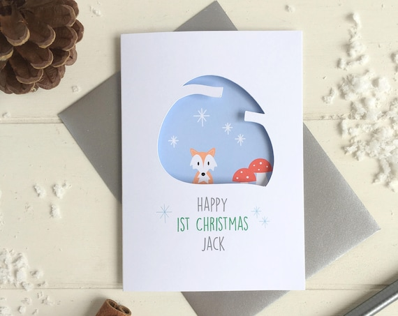 Baby's first christmas fox card - personalised card - 1st christmas card