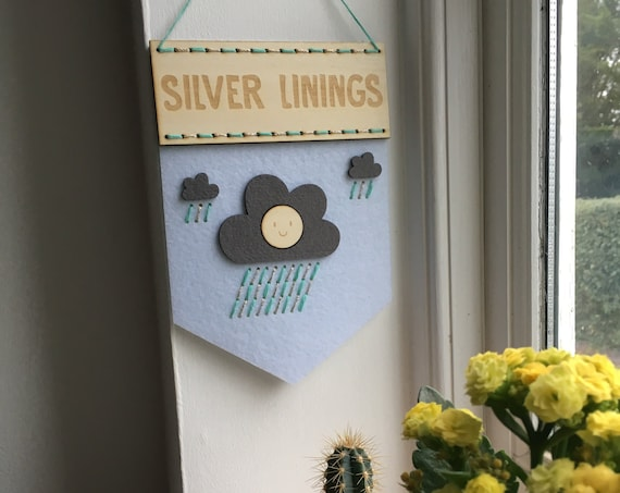 Silver Linings banner embroidery kit - fun kit - stitch kit