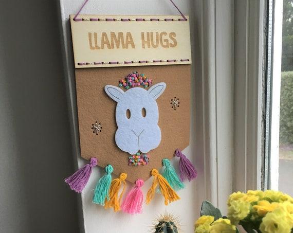 Llama Hugs felt banner kit - embroidery kit - stitch kit - llamas