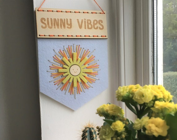 Sunny Vibes embroidery kit - banner kit - fun stitch kit