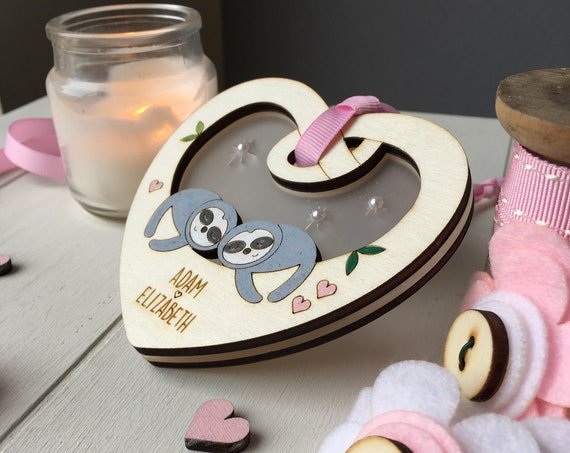 Valentines love token - cute sloth couple - valentines gift - love keepsake