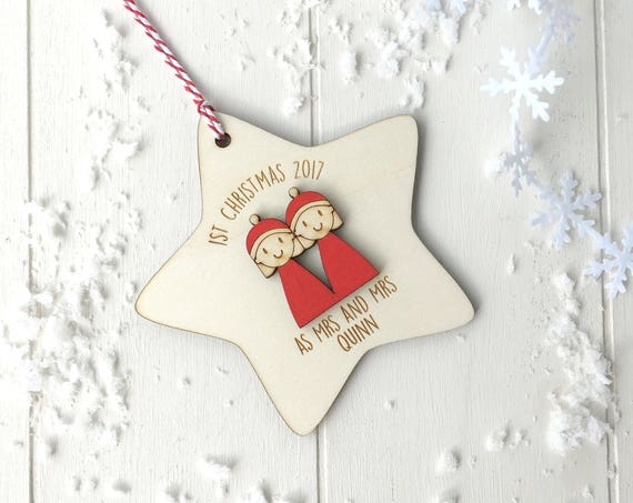 First Christmas as Mrs and Mrs - Personalised first christmas married tree decoration