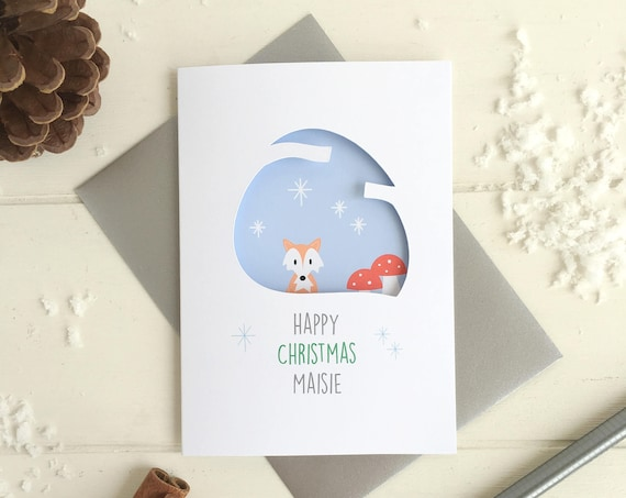 Fox Christmas card - Personalised card - Woodland christmas card