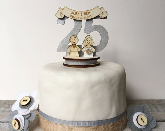 25th wedding anniversary cake topper - silver wedding topper - personalised topper