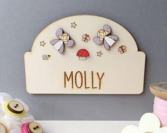 Fairy door plaque - Girls door sign - Personalised name sign - Girls name plaque - new baby gift