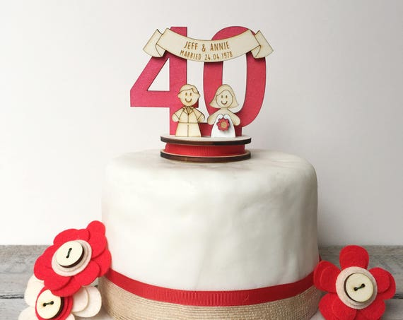 40th Wedding anniversary topper - ruby wedding cake topper - personalised cake topper - decoration keepsake n
