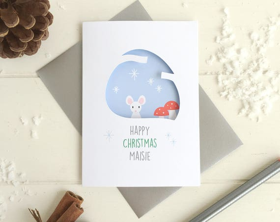 Mouse christmas card - personalised christmas card - xmas card