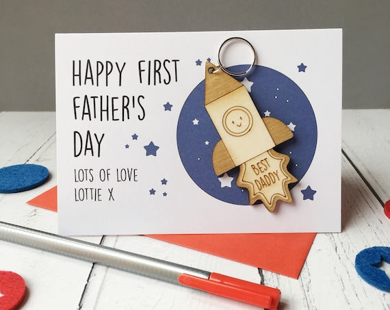 First Father's Day Card - Father's Day - Keyring - Space Card