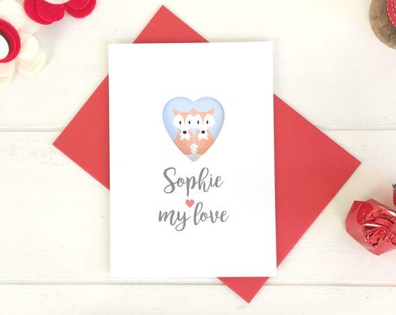 Cute Fox Valentin's Card - Love Card - Valentine's Day - Fox
