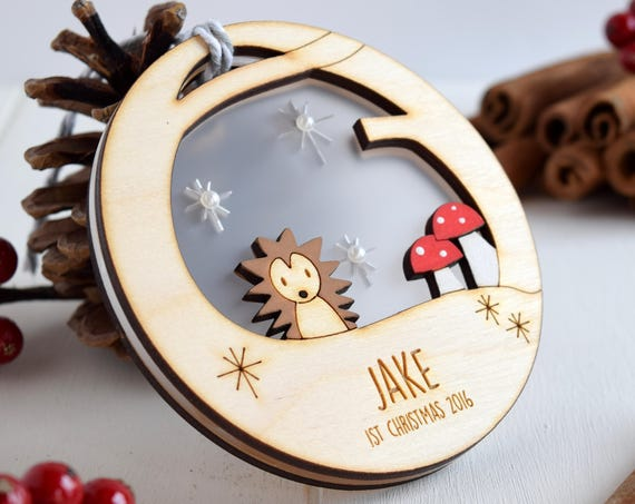 Baby's 1st Christmas hedgehog bauble