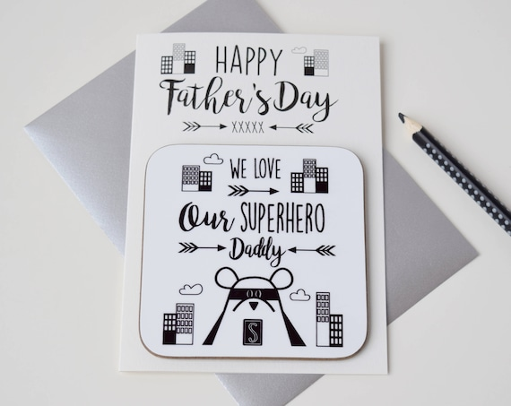 Father's Day card - Big adventures with Daddy bear - Superhero Daddy bear