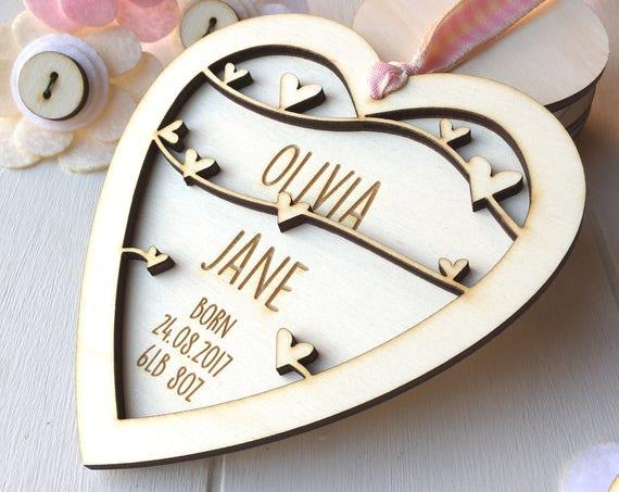 New Baby Girl Keepsake gift - personalised Baby gift - New born gift - keepsake heart