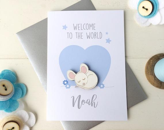 New baby boy card - baby boy card - birth card