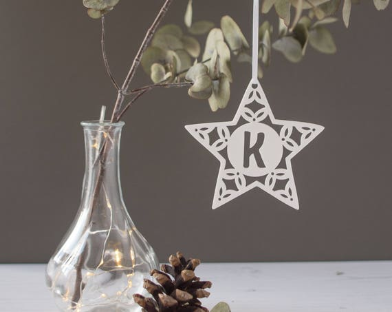 Christmas star tree decoration - Personalised tree decoration - scandi style decoration