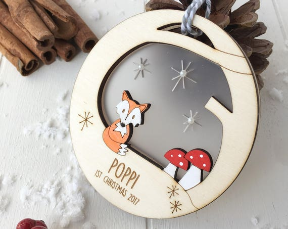 Baby's first christmas fox bauble - personalised 1st christmas bauble - woodland decoration