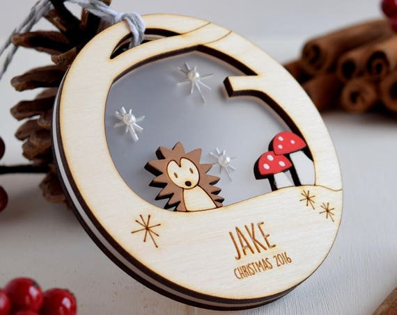 Personalised Christmas woodland bauble - Christmas decoration - Tree decoration - Cute hedgehog