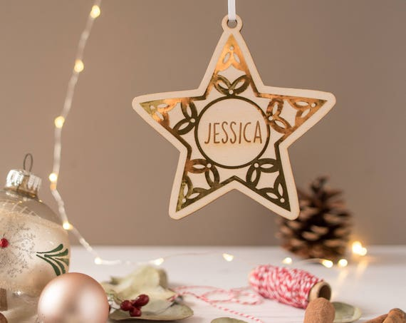Wooden Star christmas decoration - personalised tree decoration - tree bauble
