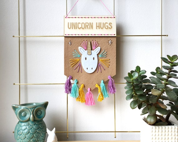 Unicorn Hugs banner embroidery kit - sewing kit - love unicorns