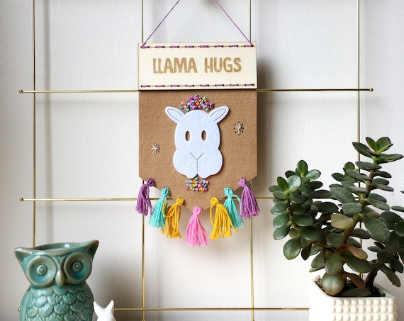 Llama Hugs felt banner kit - embroidery kit - stitch kit - llamas