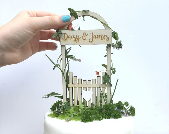 Rustic love gate wedding cake topper