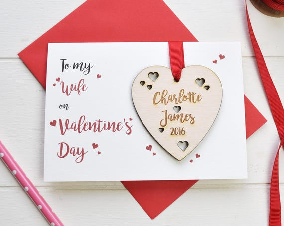 Wife's Valentine's card - personalised wife's valentine's card can token - love card