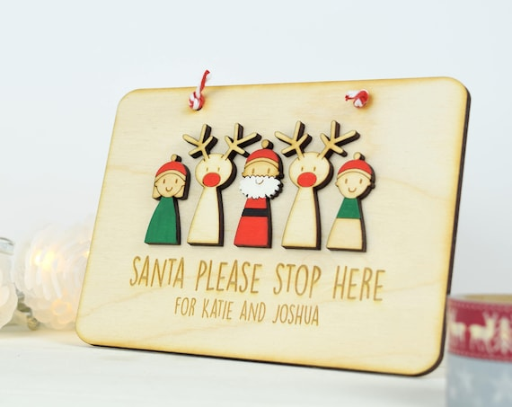 Santa stop here sign - christmas eve - father christmas sign - Christmas