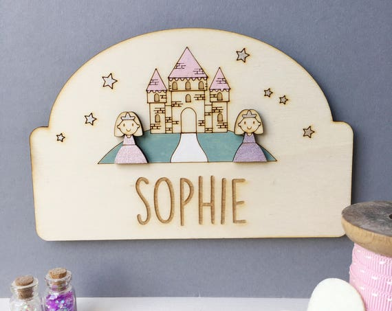 Princess child's door plaque - Personalised girl's door sign - Princess castle