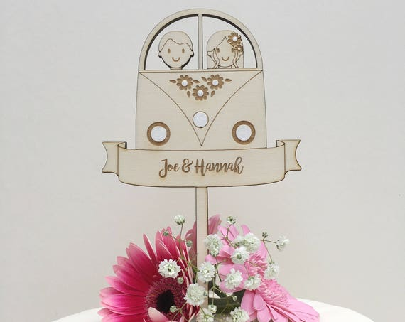 Camper van wedding cake topper - Personalised - wooden topper - boho wedding - hipster topper - rustic topper