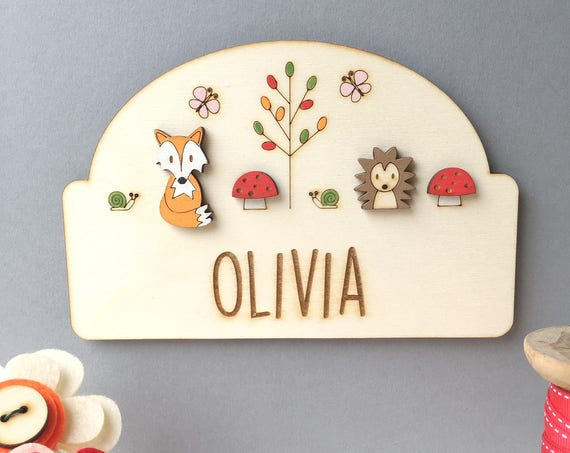 Woodland Door sign - Woodland Nursery - Child's door sign - Cute hedgehog and fox