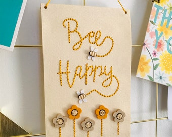 Bee Happy | Be Happy Embroidery Kit | Positive Banner | Simple Sewing Kit | Love Bees