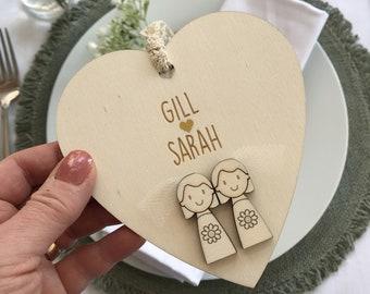 Personalised Bride and Bride Wedding keepsake heart