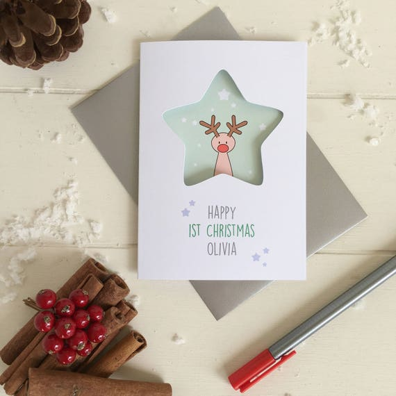 Baby's first Chritmas rudolf card - personalised card - rudolf card - christmas card