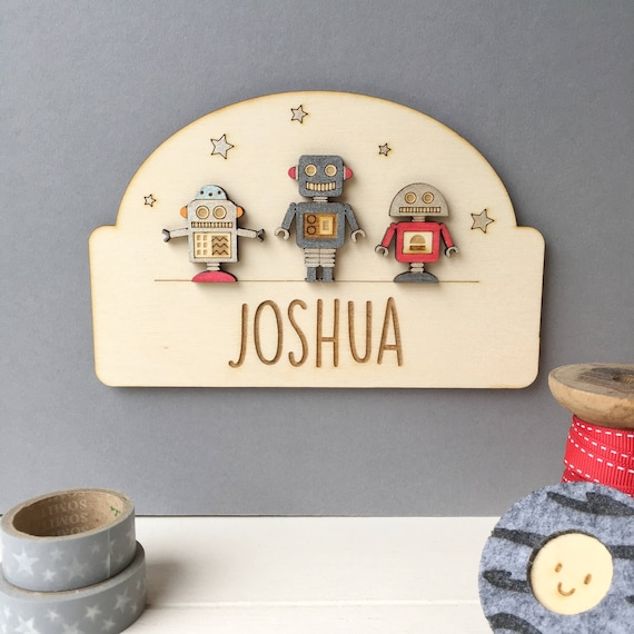 Robot Door Plaque - Name plaque - Cheeky Robots - Name sign