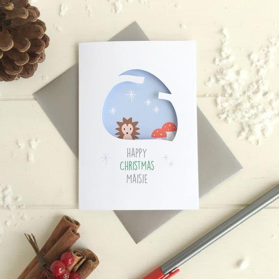 Hedgehog Christmas card - Personalised Christmas card