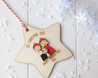 Personalised couple and puppy 1st christmas bauble