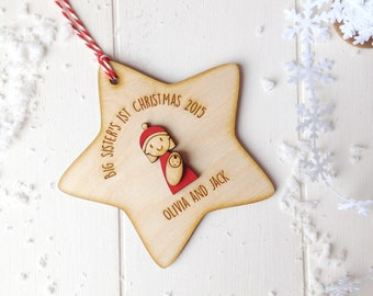Personalised First Christmas as Big Sister bauble