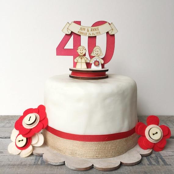 40th Wedding anniversary topper - ruby wedding cake topper - personalised cake topper - decoration keepsake n
