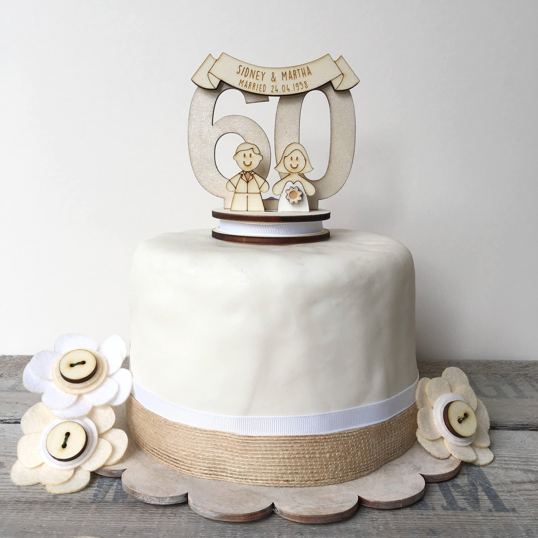 60th anniversary cake topper - diamond wedding anniversary - wedding ...
