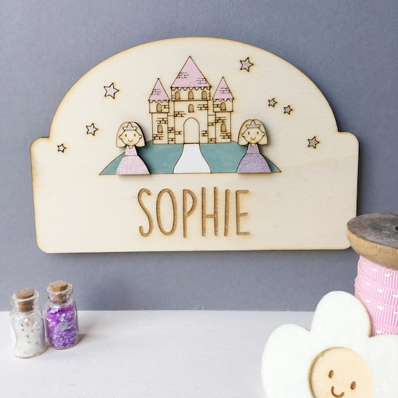 Princess child's door plaque - Personalised girl's door sign - Princess castle