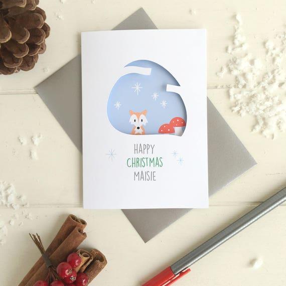 Fox Christmas card - Personalised card - Woodland christmas card