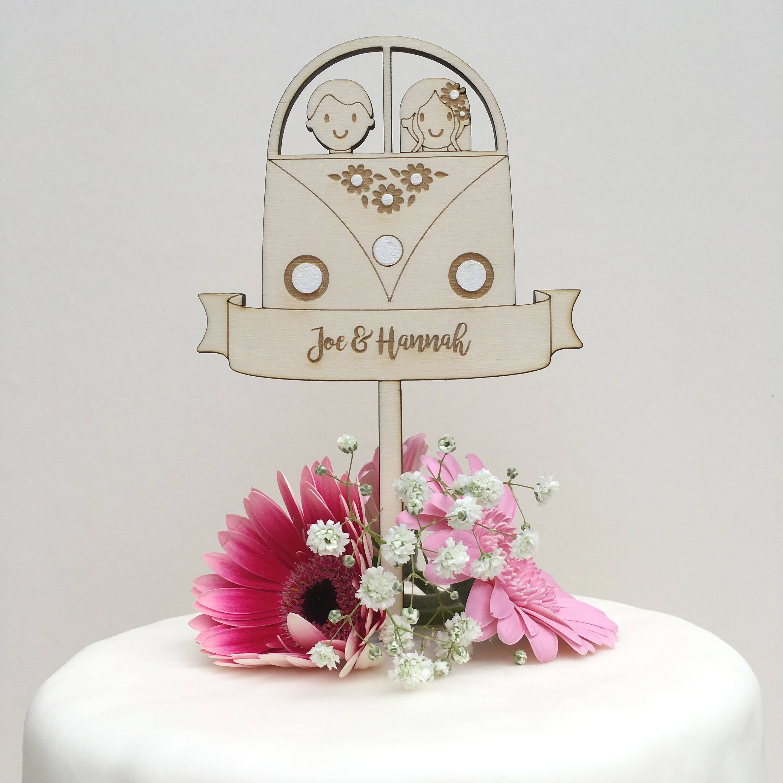 Camper van wedding cake topper - Personalised - wooden topper - boho ...