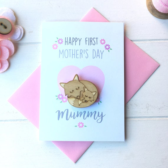 First Mother's Day card and keepsake brooch - mummy fox brooch - mummy and baby - mother's day gift